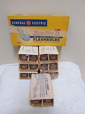 28 Vintage GE General Electric Flashbulbs Sure-Fire #5 36 Clear Bulbs