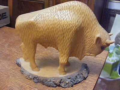 Hand Carved Wood Buffalo/bison Figure-Collectible Piece-Nice!