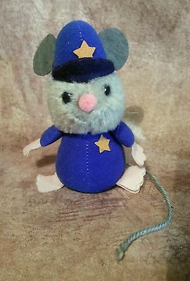 Rare vintage plush stuffed animal police mouse string tail beanie Wallace Russ