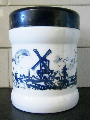 VINTAGE OPALINE MILK GLASS CANISTER / TOBACCO JAR with BLUE DUTCH WINDMILLS