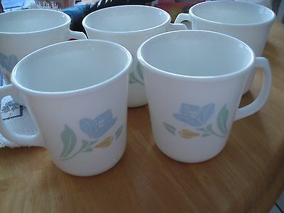 """Corelle Friendship 3-1/2"""" Floral White Coffee Set of 5 Mugs"""
