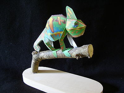 New Handmade Veiled Chameleon Walking on a Branch with Hard Maple Stand