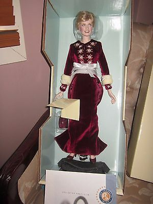 "Franklin Mint Porcelain doll Princess Diana ""Princess of Loveliness"" COA certs"