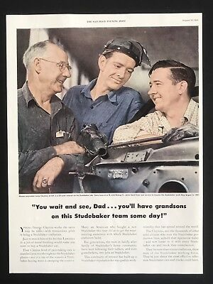 1949 Vintage Print Ad STUDEBAKER Automobile Car Factory Workers