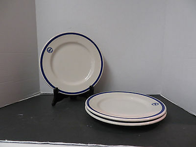 3 Vintage Syracuse China Resturant RUMSON COUNTRY CLUB Plates, SY186 Blue Band
