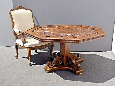Vintage SPANISH STYLE Pedestal Dining TABLE Highly Carved Ornate Mid Century