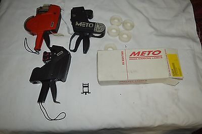 METO AND MOTEX  PRICE Labelling GunS  AND MOST OF A BOX OF LABELS