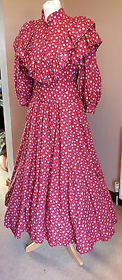Droopy & Browns Red Floral 80's Vintage Edwardian Maxi Dress Fits Size 12