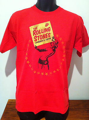 THE ROLLING STONES America 1978 Red T-SHIRT NEW OFFICIAL MERCH Size SMALL