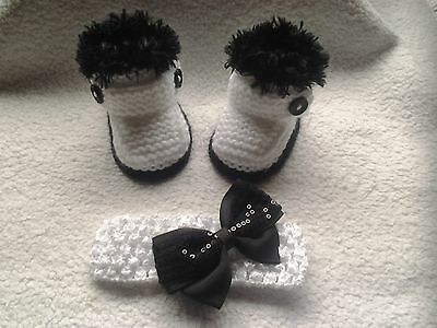 ❤ Hand Knitted Baby Booties Bootees & Headband 0-3 Months ❤