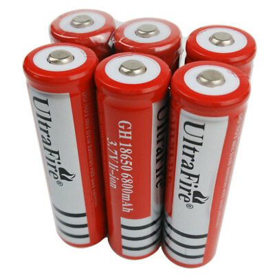 6 Pcs 18650 BATTERIE 6800mAh 3.7V LI-ION Accu Rechargeable Battery Flashlight