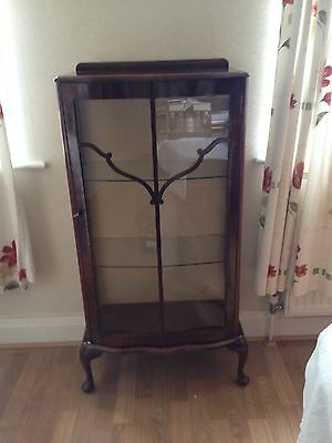 Antique - Vintage mahogany and glass display cabinet.