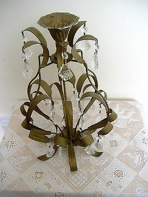 Arts and Crafts style chandelier, metal, with glass drops, green.