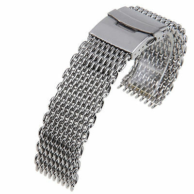 STAINLESS STEEL SHARK MESH STRAP FOR WATCHES WITH 22mm LUG SIZE
