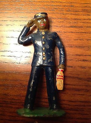 Vintage Barclay Lead Toy Figure Train Conductor broom excellent
