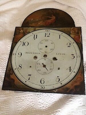 Antique Painted Clock Face Dial.  Brownbill Of Leeds