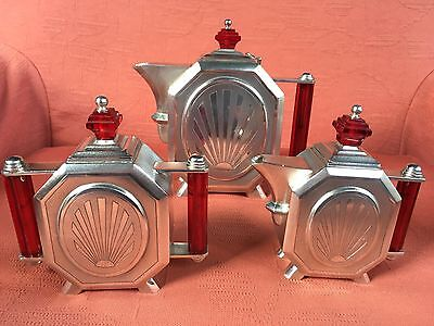 Art Deco Silver 3 Piece Tea Set .1121 Gms. Odeonesque.