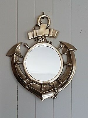 Vintage Australian Made Solid Brass Nautical Anchor Mirror. Heavyw8.  By Walker.