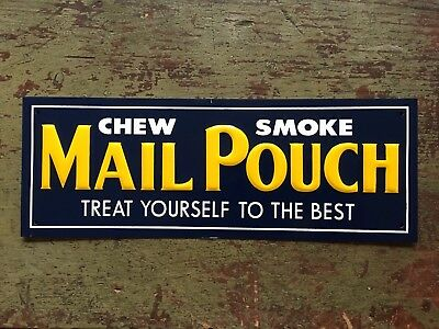 Vintage Mail Pouch Tobacco Embossed Tin Door Push Advertising Sign