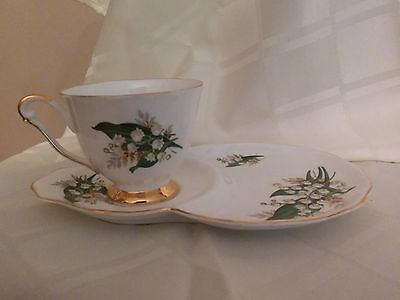 Vintage Queen Anne Lily of the Valley Bone China Teacup & Snack Plate/Tennis Set