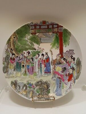 Vintage Chinese Porcelain Plate Hand-Painted Marked Wedding Ceremony Canton