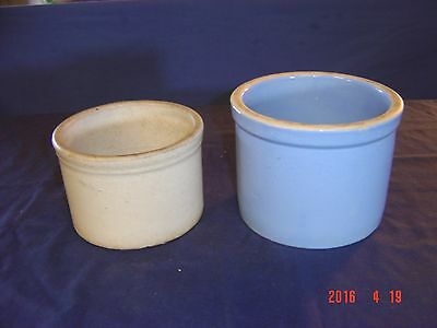 Vintage Blue  and natural color  Crocks Stoneware  Pottery small