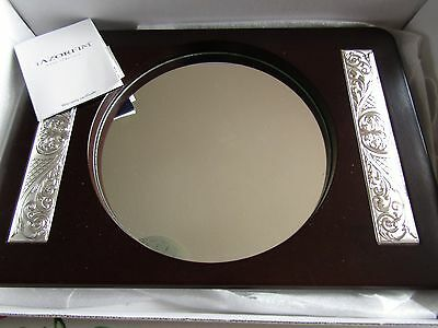 Large boxed Hazorfim Challah Tray Wood Marked Silver Mirrored Base Glass Insert