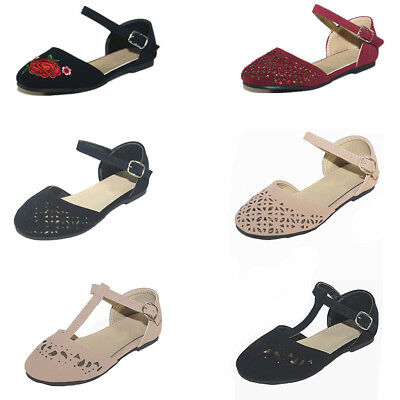 New Kids Girl's Mary Jane Comfort Casual Ankle Strap Dress Ballet Flats Shoes