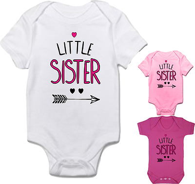 Baby girl clothing 'LITTLE SISTER' cute bodysuit babygrow **FANTASTIC GIFT**