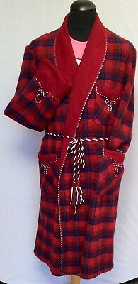 Vintage Mcgregor Traditional Red Wool Tartan Plaid Robe Dressing Gown Large