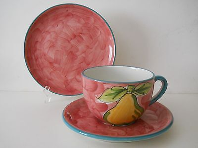 RB Alcobaca Portugal Pottery Trio JUMBO Coffee Cup, Saucer, Plate~Pink Swirl
