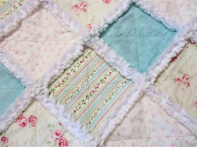 New Gorgeous French Country Cottage Shabby Chic Baby Rag Girl Quilt Handmade