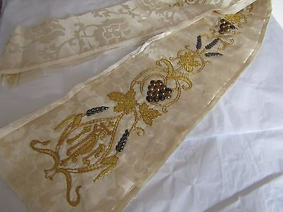 Shawl priest Chasuble Antique Embroidered unfinished hand made