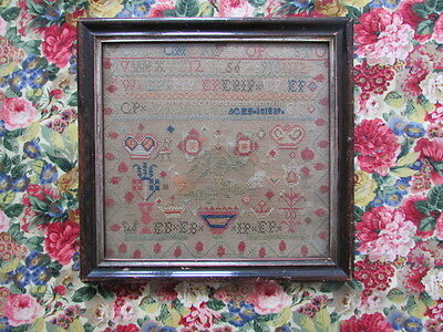 Antique English Needlework Sampler 1839 Made By Mary Phillips, Wood Framed