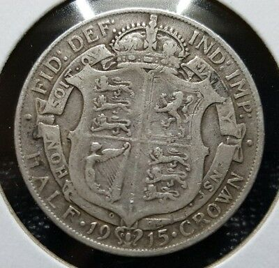Silver 1915 Great Britain 1/2 Crown