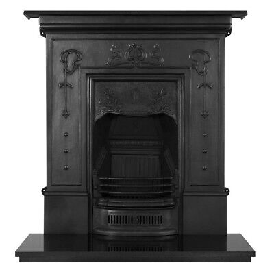 Bella Cast Iron Victorian Style Combination Fireplace And Granite Hearth