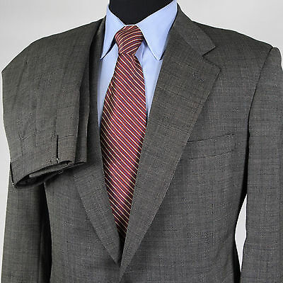 Brooks Brothers Mens 38R Black Gray Pinpoint 2 Bttn Wool Suit Jacket Pants 30x32