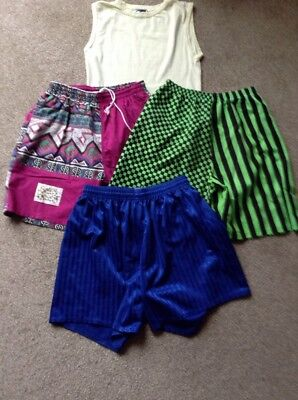 "Job Lot 3 Shorts Plus One T-Shirt Size 28"" :one Swim Shorts Bright Pink, 1 Green"