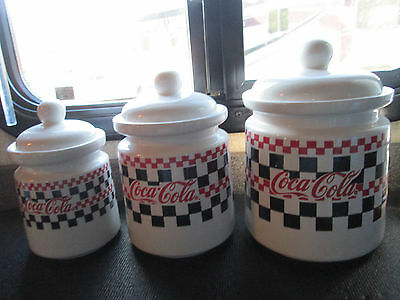 Coca Cola Canisters 3  Checker Board Design 1997 Ceramic