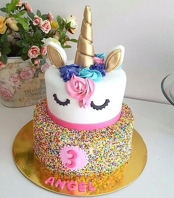 Pre-made Cute Unicorn Cake toppers DIY Kit - Birthday Party Gold Silver Purple