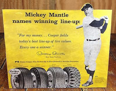 Mickey Mantle New York Yankees NY Baseball Player Cooper Tires Adv Counter Sign