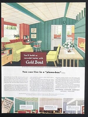 1949 Vintage Ad GOLD BOND Building Products Kitchen Illustration Mid Century