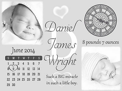 New Baby Personalised Print Newborn Gift, Wall Art, Christening, Nursery Birth
