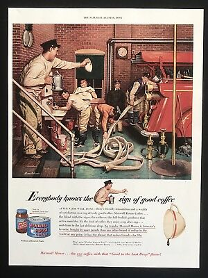 1949 Vintage Ad MAXWELL HOUSE Fire Station Illustration Truck House Men