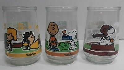 Vintage 3 Welch's Peanuts Snoopy Comic Classics Jelly Glass #5 #6 #7