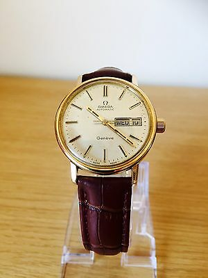 Vintage Omega Day Date Geneve Mens Cal 1022 Watch Automatic Movement Gold