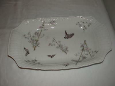 Beautiful Rectangle Serving Tray/platter Purple Butterflies White Weave