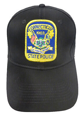 Connecticut State Police Patch Snap Back Ball Cap, Black, Brand New