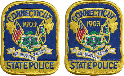 """Hat size Connecticut State Police Patches - Pair - 3 1/8""""T by 2 1/2""""W - NEW"""