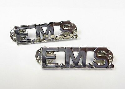 """E.M.S Collar Pins Silver Plated - Pair - 1 3/4"""" x 1/2"""" - NEW"""